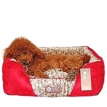 Hxyan Cama para Perros Pequeño Mediano Lavable para Mascotas Cama para Gato Colchón Rojo Algodón PP: Amazon.es: Productos para mascotas