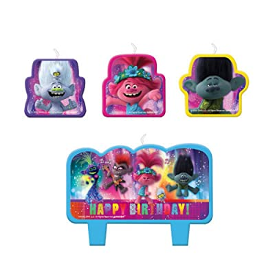 Trolls World Tour Birthday Cake Character Candle Set - 4 pcs: Toys & Games