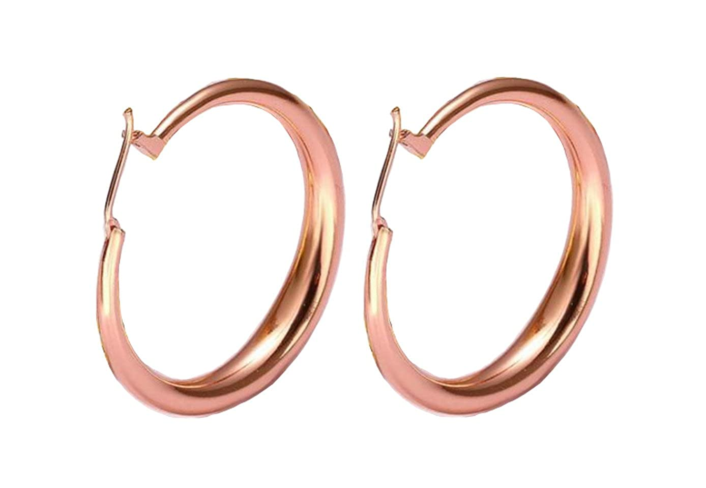STAYJOY Classic Rose Gold Fashion Crescent Clicktop Hoop Earrings (35mm/1.38