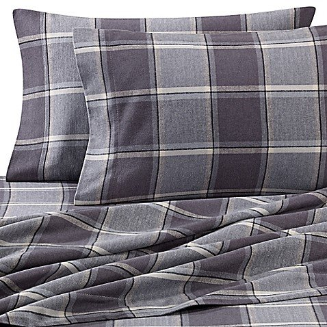 Luxury Portuguese Flannel King Pillowcases in Smoke Plaid (Set of 2) ()