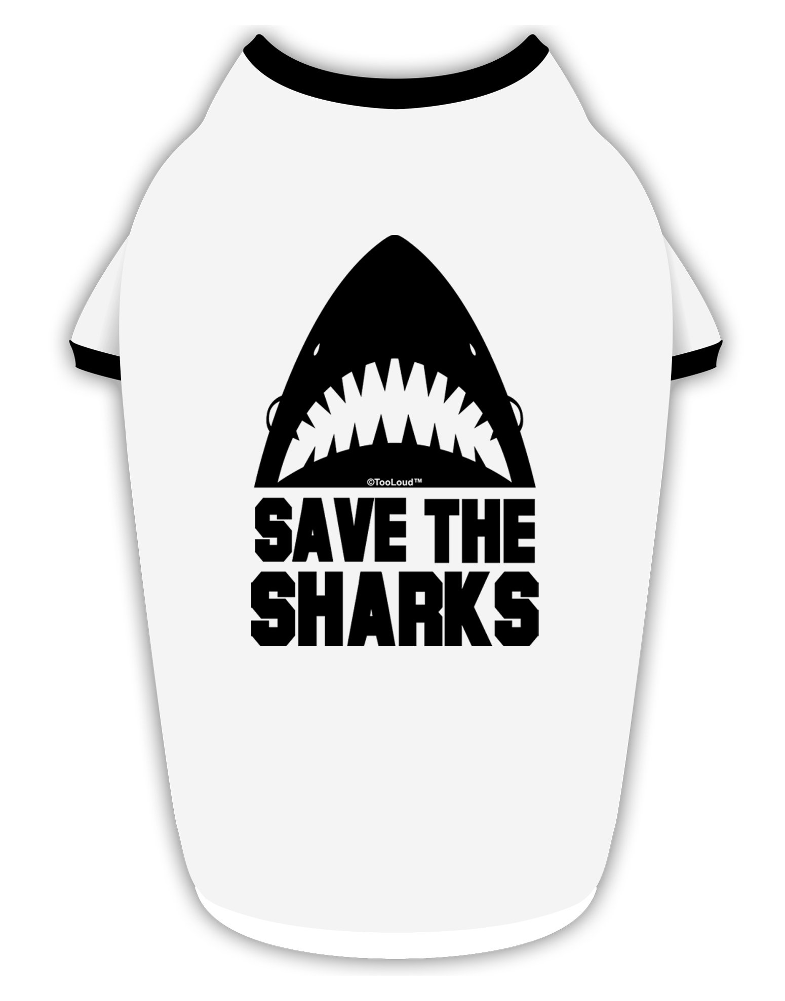 TooLoud Save The Sharks Cotton Dog Shirt White with Black XL