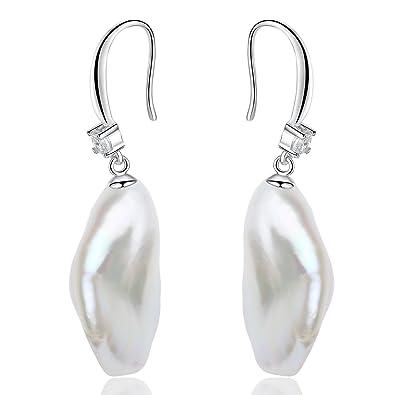 Women's Sterling Silver White Baroque Freshwater Pearl Drop Earrings, 10.5-11.5mm