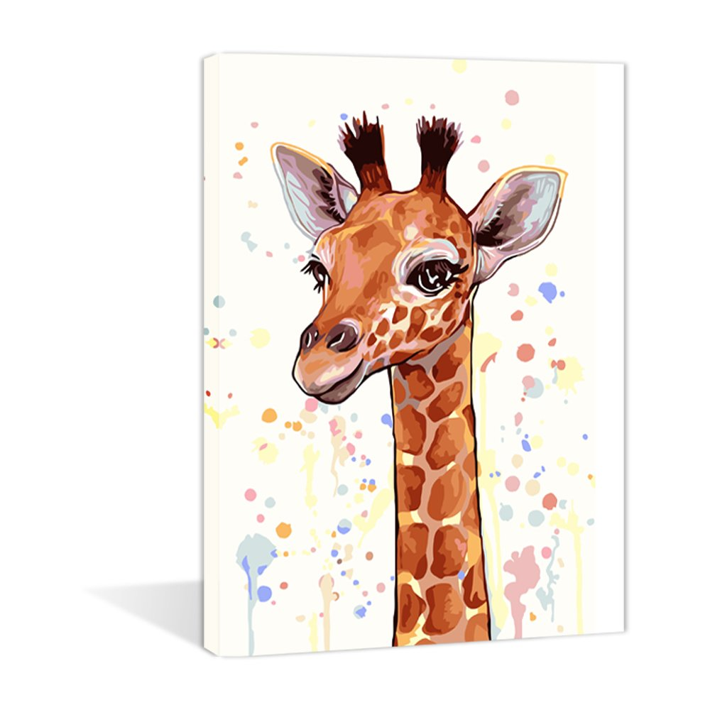 Diy Oil Painting Paint by number kit For Adults Kids Wall Art Paintings -Giraffe 16x20inch
