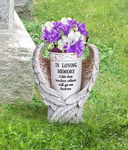 - CT DISCOUNT STORE Honor The Loss of Your Love One with A Beautiful Special Vase Angel Wing Filled with Any Seasonal Flowers Indoor Outdoor Decoration