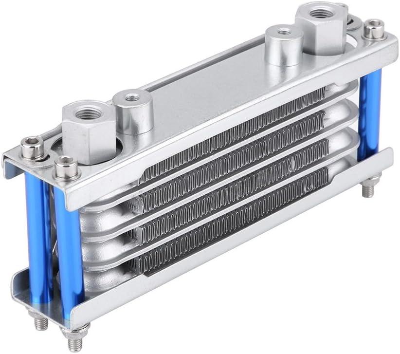 Kit universal de enfriador de aceite del motor, Radiador de refrigeración del aceite de la motocicleta para moto Dirt Bike 50CC-200CC(Plata)