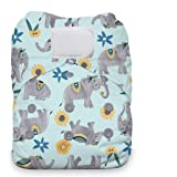 Thirsties Natural One Size All in One Cloth Diaper, Hook & Loop Closure, Elefantabulous