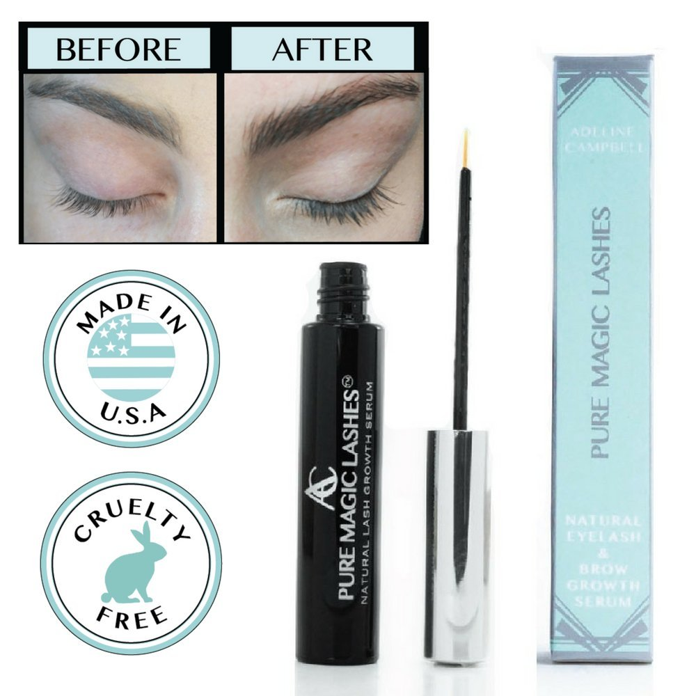 NATURAL Serum For RAPID Eyelash and Eyebrow Growth - PEPTIDE INFUSED - CRUELTY FREE - MADE IN USA -LASH BOOSTER - Natural lash enhancer with coconut extract & sesame oil