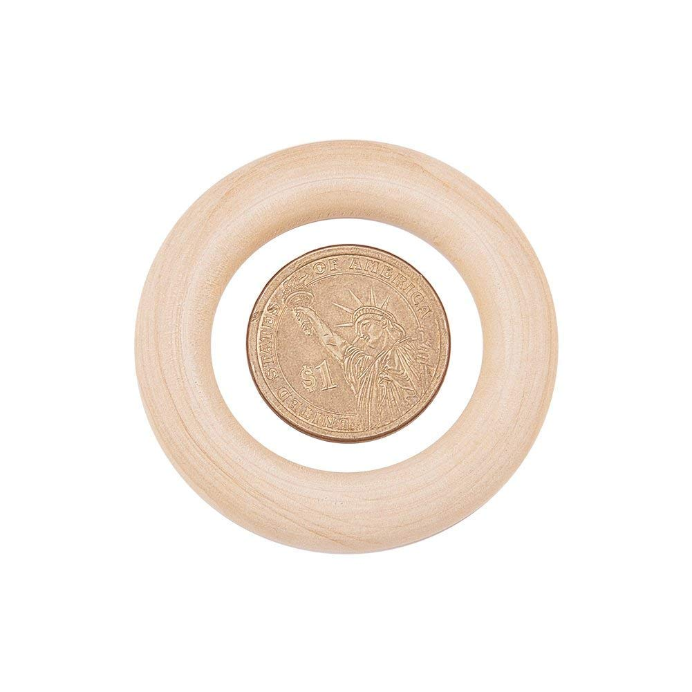 70mm Onwon 10 Pieces Wooden Rings Natural Wood Rings Without Paint Smooth Unfinished Wood Circles for Craft DIY Baby Teething Ring Pendant Connectors Jewelry Making