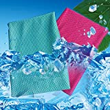 [2 Pack] Cooling Towel, Cool Towel for Instant Cooling Relief, Ice Cold Scarf For Men Women, Chilly Towel, Stay Cool for Travel,Sports, Fitness, Gym, Yoga, Golf, Pilates, Camping & More Lake Blue+Rose