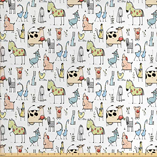 ric by The Yard, Cute Cow Horse Pigs Chicken Sheep Farmhouse Mascots Kids Nursery Baby Cartoon Print, Decorative Fabric for Upholstery and Home Accents, 1 Yard, Multicolor ()
