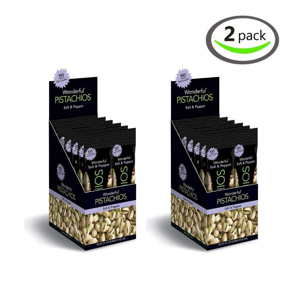 Wonderful Pistachios, Salt and Pepper, 1.25 Ounce - Pack of 2 by Wonderful Pistachios & Almonds