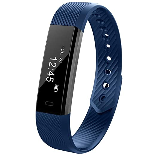 Reloj Inteligente Xinan Reloj Inteligente Bluetooth Pulsera Pulsera Podómetro Sport Fitness Tracker ID115 (❤️Azúl