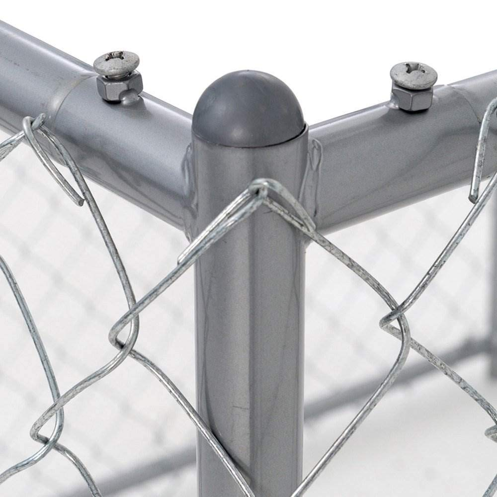 Chain Link Dog Kennel - Lucky Dog Outdoor Heavy Duty Pet Kennel - This Pet Cage System is Perfect For Containing Larger Dogs and  Small Animals. Galvanized chain link doesn't kink or tangle. Two setup options (5'W x 10'L x 6'H or 8'W x 6.5'L x 6'H) by Lucky Dog