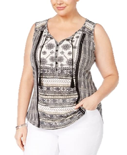 caadabfd7ae Style   Co. Plus Size Embroidered Peasant Top in South Pacific Black ...