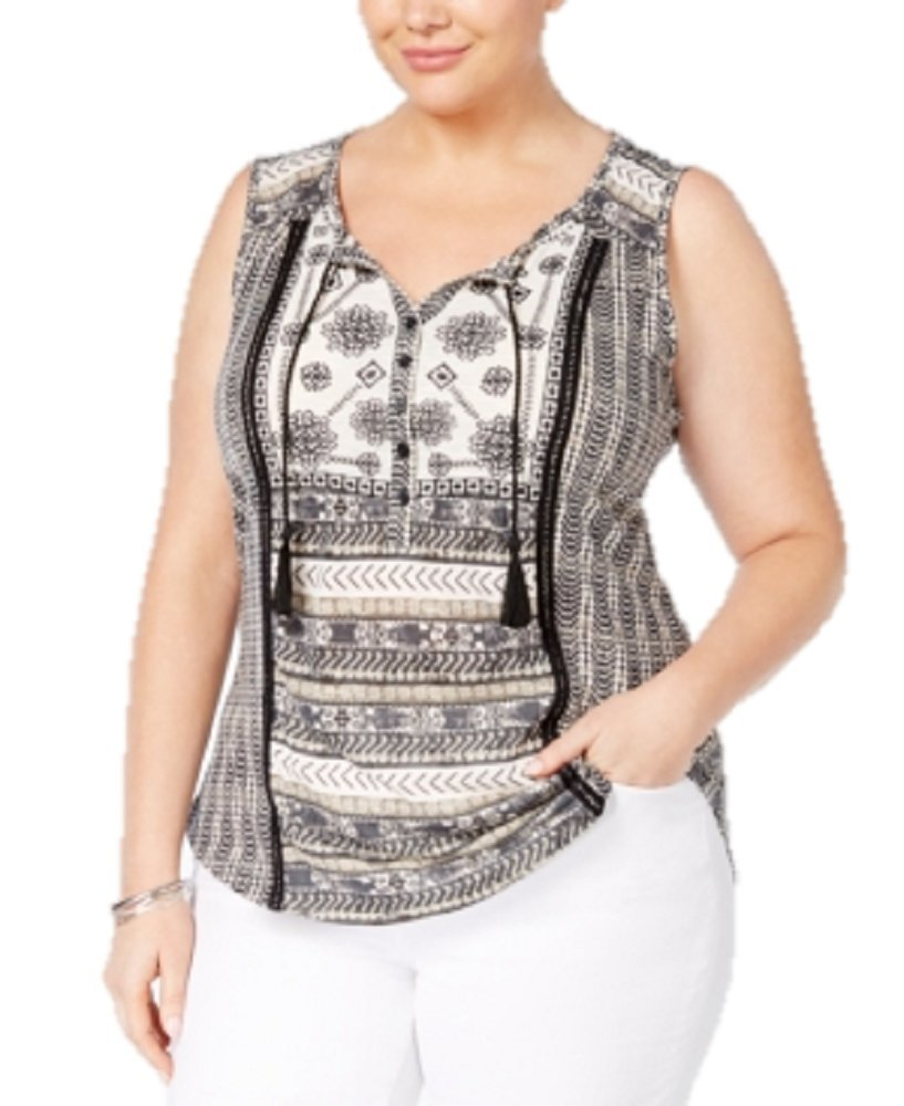 Style & Co. Plus Size Embroidered Peasant Top in South Pacific Black (1X)