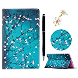 Lanveni Case for All-New Amazon Fire HD 8 Tablet ,Universal Case for 6th Generation,7th Generation 8' Tablet - Premium PU Leather Flip Case Fold Stand Case, Wallet Cover Auto Wake/Sleep (with Dust Plug & Stylus) for Fire HD 8 Tablet - Pink Flowers
