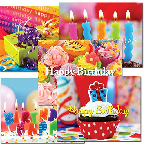 POSTCARDS: Birthday Brights Assortment, box of 60 postcards, 5 each of 12 different designs. No Envelopes
