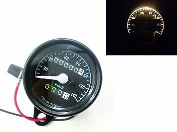 Universal Motorcycle LED Dual Odometer KMH Speedometer Gauge Cruiser Bobber 12V