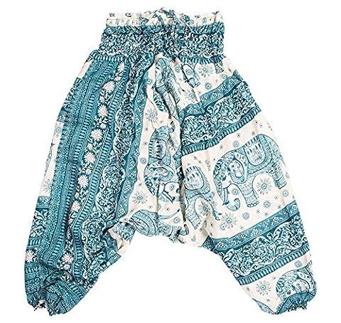 Lofbaz Kids Harem Aladdin Elephant Special Child Pants Bohemian Hippy Teal Green Size 18M