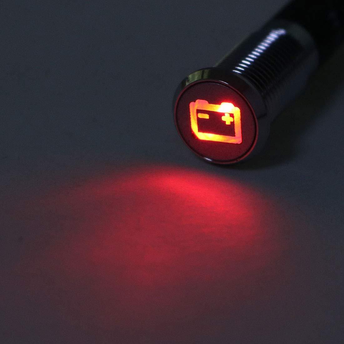 sourcing map Signal Indicateur Voyant DC 12V 8mm Rouge LED M/étal Coque avec Symbole Batterie /Échec 2Pcs