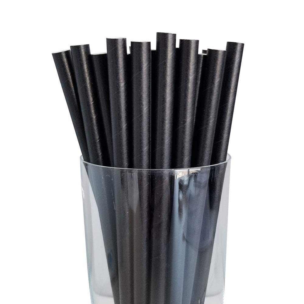 2,800 Milkshake Smoothie Fat Disposable Drinking Solid Black Paper Straws 7.75'' 8mm Dye Free Straw | by Canada Brown by Canada Brown Eco Products Ltd