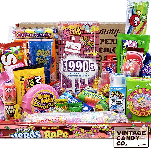 VINTAGE CANDY CO. 1990s RETRO CANDY GIFT BOX - 90s Nostalgia Candies - Flashback NINETIES Fun Gag Gift Basket - PERFECT '90s Candies For Adults, College Students, Men or Women, Kids, Teens (Retro Candy Box)