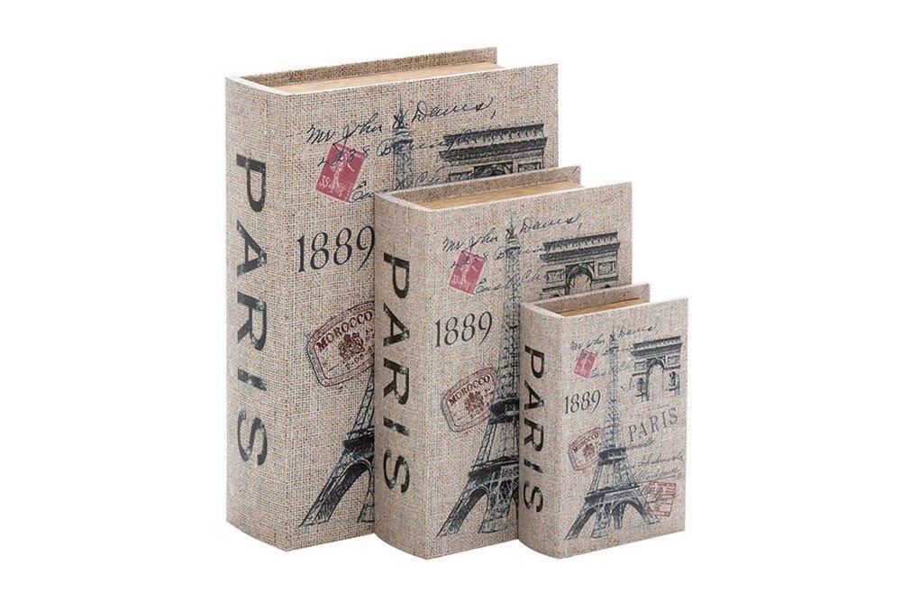 Wood Canvas Paris Book Set of 3