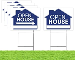 "Open House Real Estate Signs – [Upgraded] 5 Double Sided Blue Property Yard Sign Bulk Pack & 5 Heavy Duty Rust Free H Wire Stakes – Large Directional Arrows - 18""x 24"" Realtor Agent Supplies"