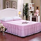 Zhiyuan Floral Lace Ruffle 2 Layers Tulle Bed Skirt Pink Full