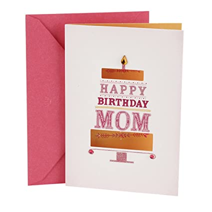 Amazon Hallmark Birthday Card For Mom Pink And Gold Cake