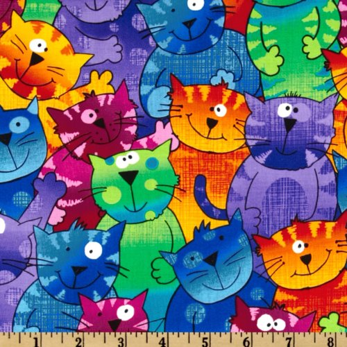 Timeless Treasures Cats & Dogs Happy Cats Multi Fabric By The (Cat Fabric)