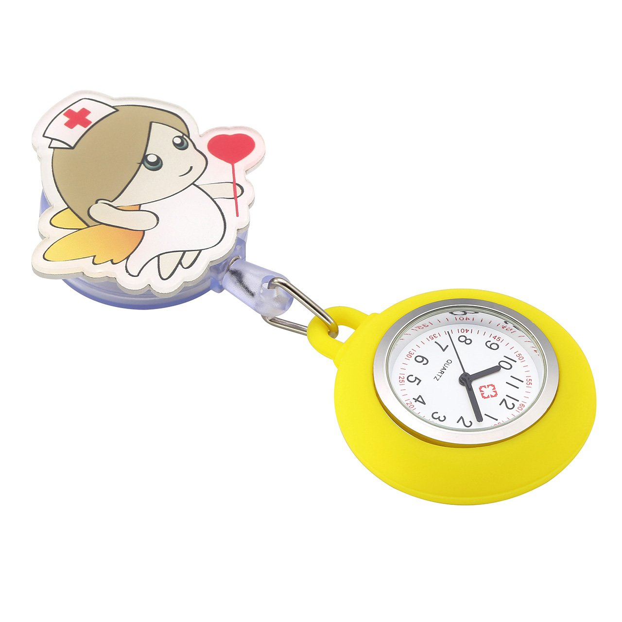Top Plaza Girls' Kid's Cute Lovely Cartoon Angel Silicone Nurse Clip-on Fob Brooch Hanging Easy Pull Clasp Stretch Analog Quartz Pocket Watches,Set of 3#2 by Top Plaza (Image #5)