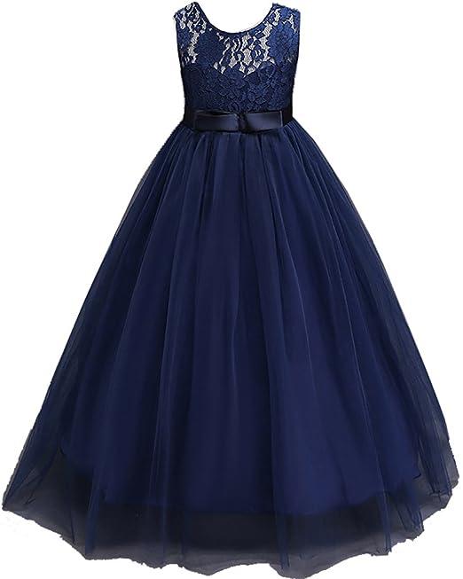 Shiny Toddler Vestido de Fiesta peagant para Chicas 7 a 8 Azul Marino