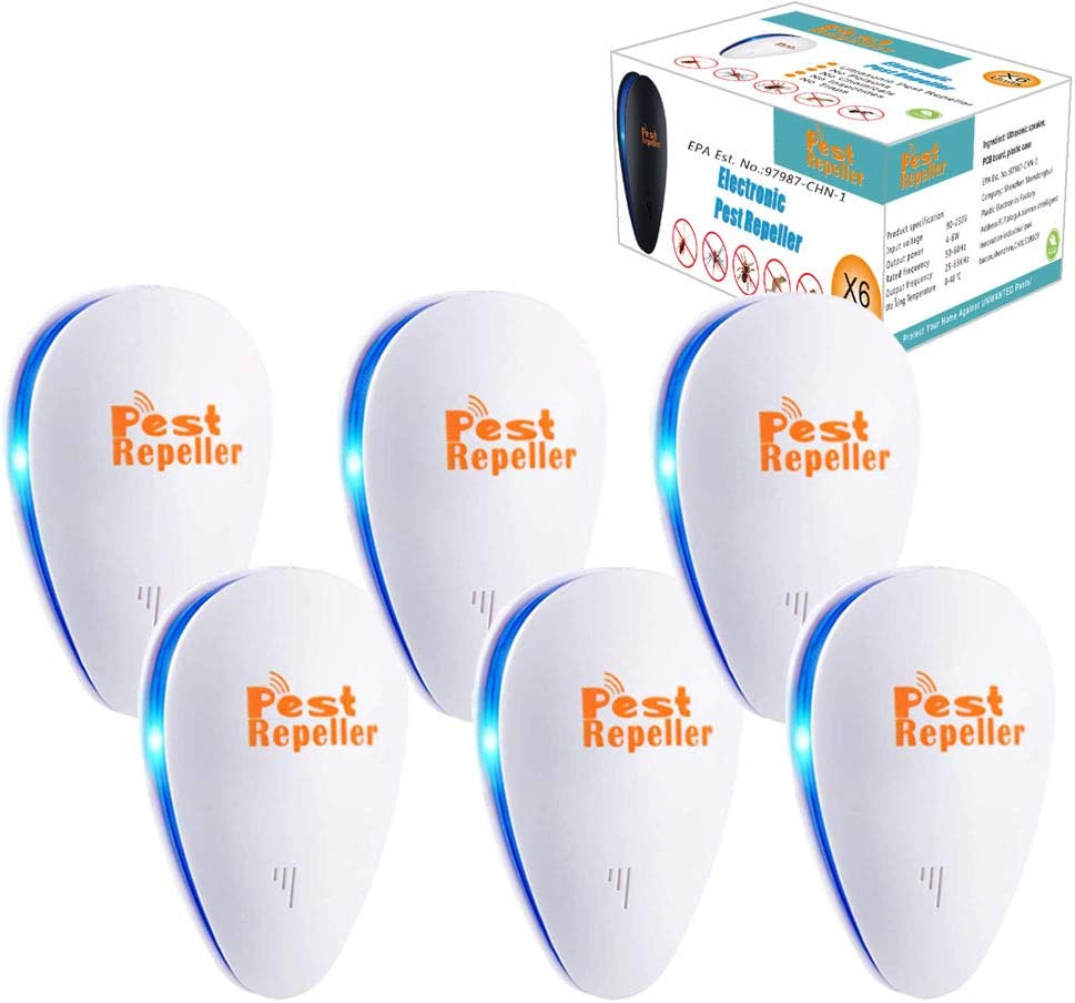 Palmandpond Ultrasonic Pest Repeller 6 Pack, 2021 Newest Upgraded Ultrasonic Pest Repellent Indoor Pest Control Electronic Plug-in Insect Repellent for Home Office