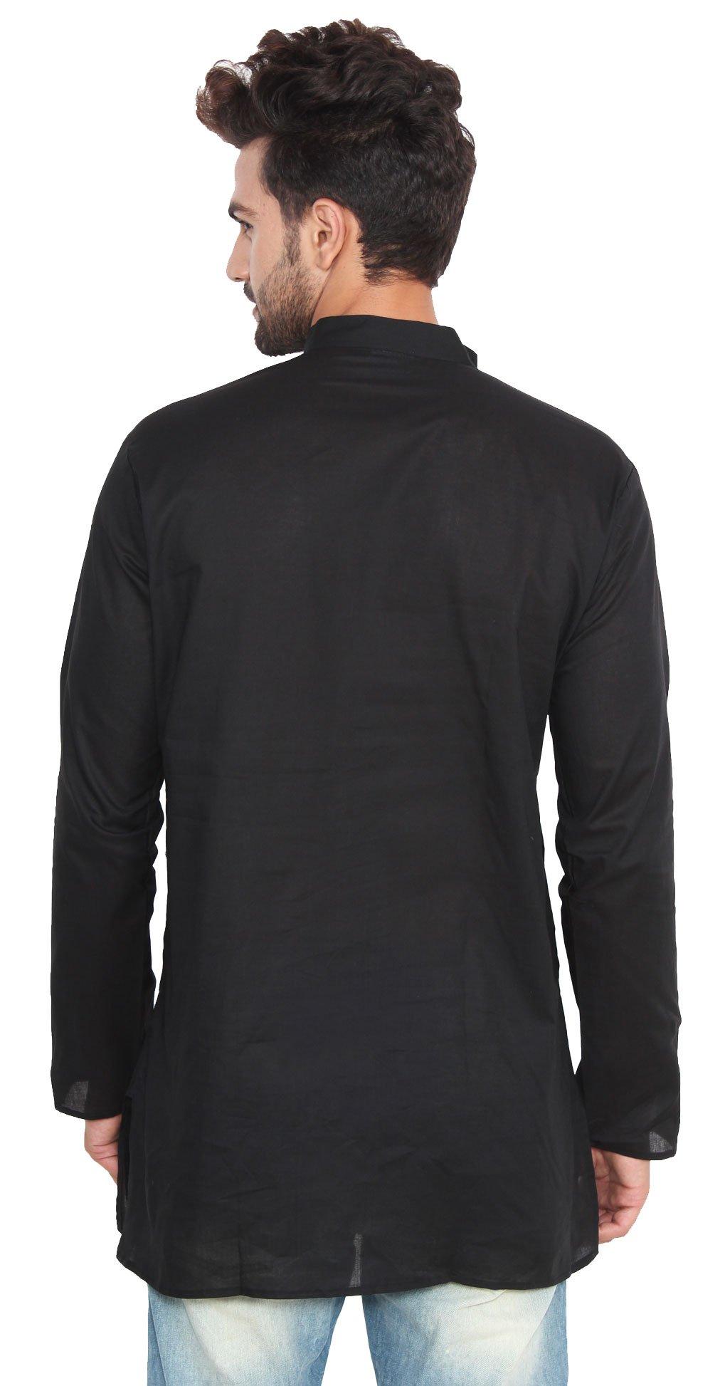 Cotton Dress Mens Short Kurta Shirt India Fashion Clothes (Black, M) by Maple Clothing (Image #4)