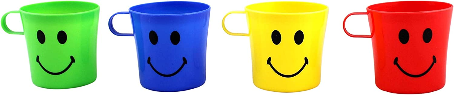 6 x Children/'s Smiley Face Plastic Cups Mugs Beakers With Handle Kids UK 0MJ/&@