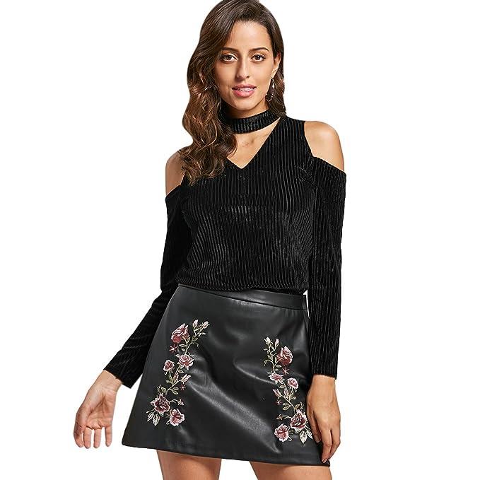 f9cc447519182 DEZZAL Women s High Collar Cold Shoulder Long Sleeve Hollow Corduroy Choker  Top (S