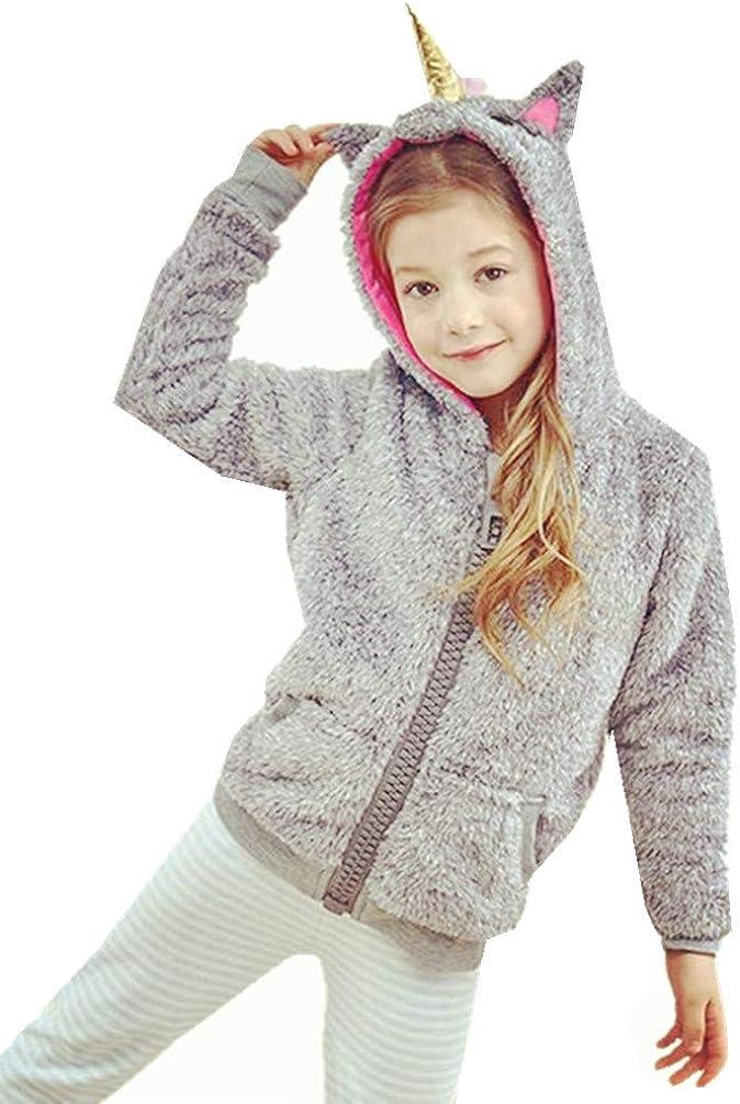 Re-Miss Kinder M/ädchen Jungen Einhorn Cosplay Karneval Unisex Gef/üllte Pl/üsch Rei/ßverschluss Winter Warme Hoodie Outfits Jacken