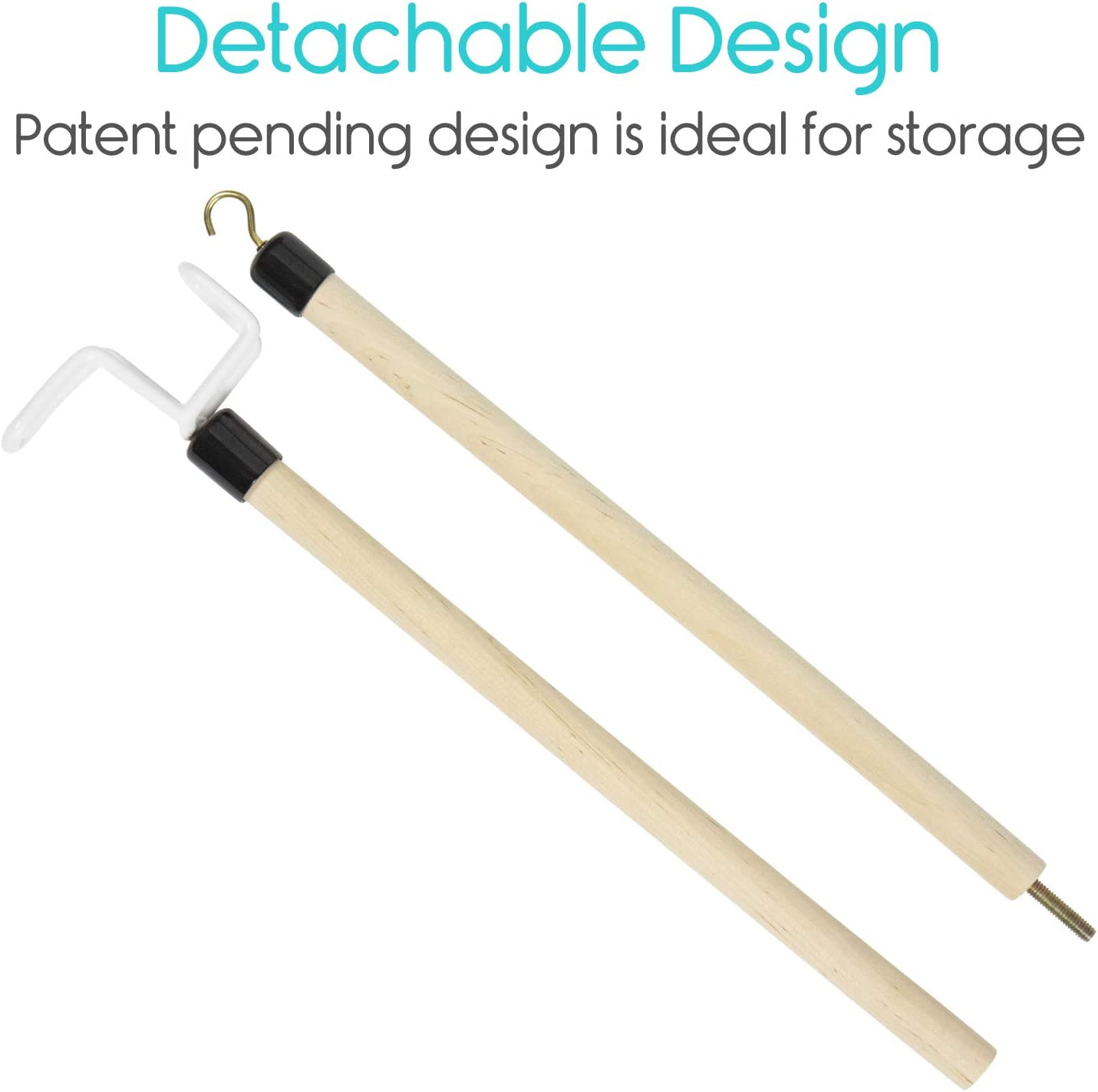 Vive Dressing Stick with Zipper Puller (27 Inch) - Sock Remover Tool - Independent Living Aid - Elderly, Seniors, Disabled, Men, Women - Mobility Helper for Compression Stockings, Dress, Jacket, Pants: Health & Personal Care