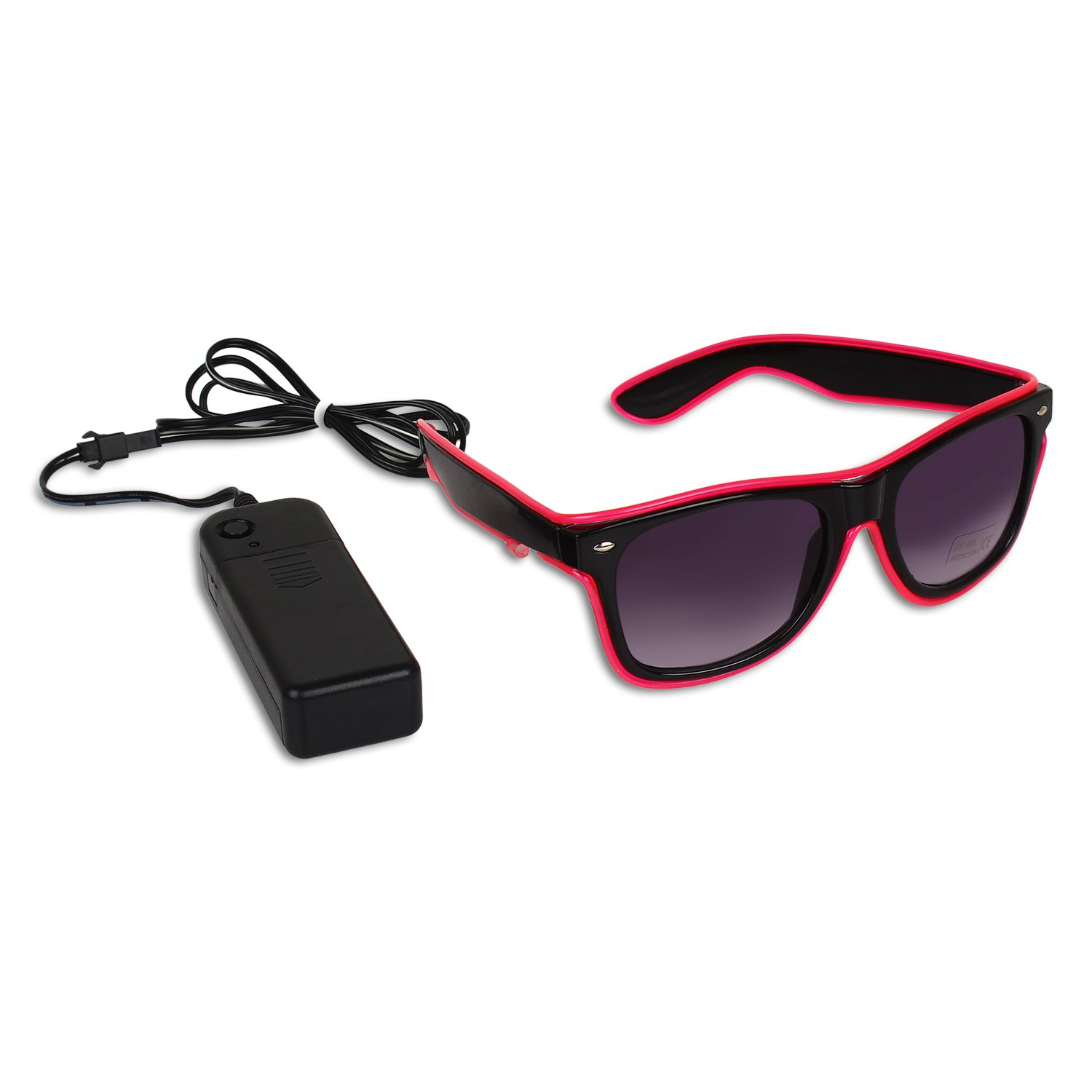Catchin24 Light Up Illuminated Neon El Wired LED Flashing Glow Goggles Rave Party Sunglasses With UV Protection Pink