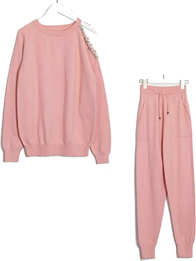 Conjunto De Ropa Y Pantalones De Punto Jersey De 2 Piezas Para Otono E Invierno Rosa Talla Unica Amazon Es Ropa Y Accesorios