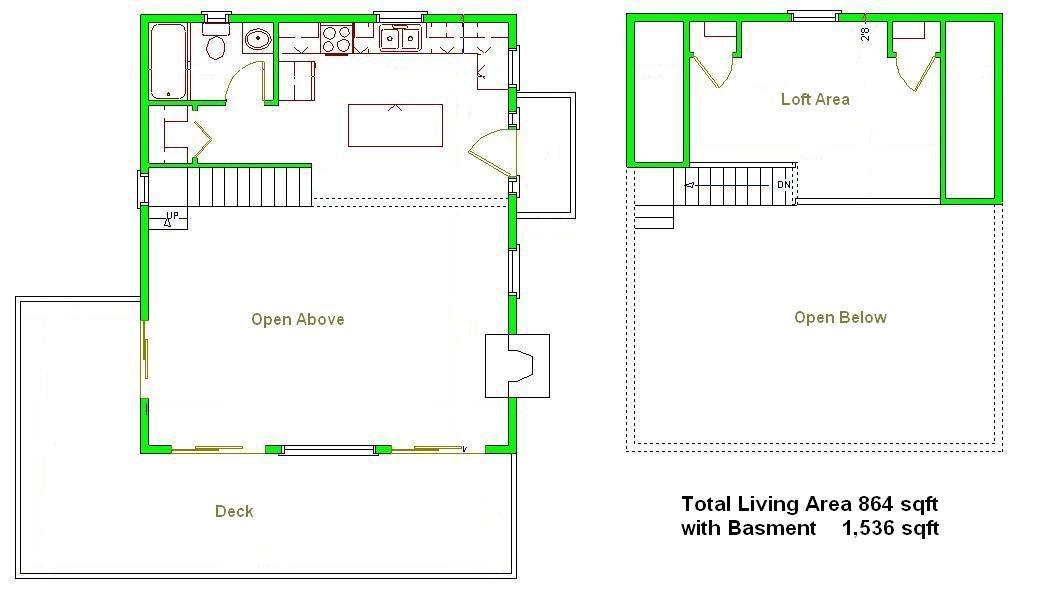 Amazoncom 24x28 Cabin wLoft Basement Plans Package Blueprints