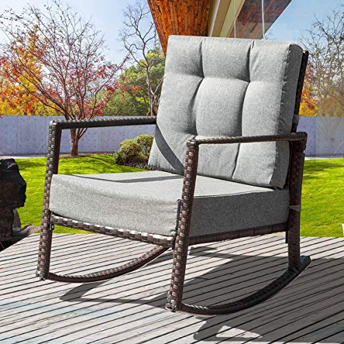 MIERES 1 Rocker Rocking Armchair Outdoor Patio Glider Lounge Wicker Chair Furniture with Cushion Grey