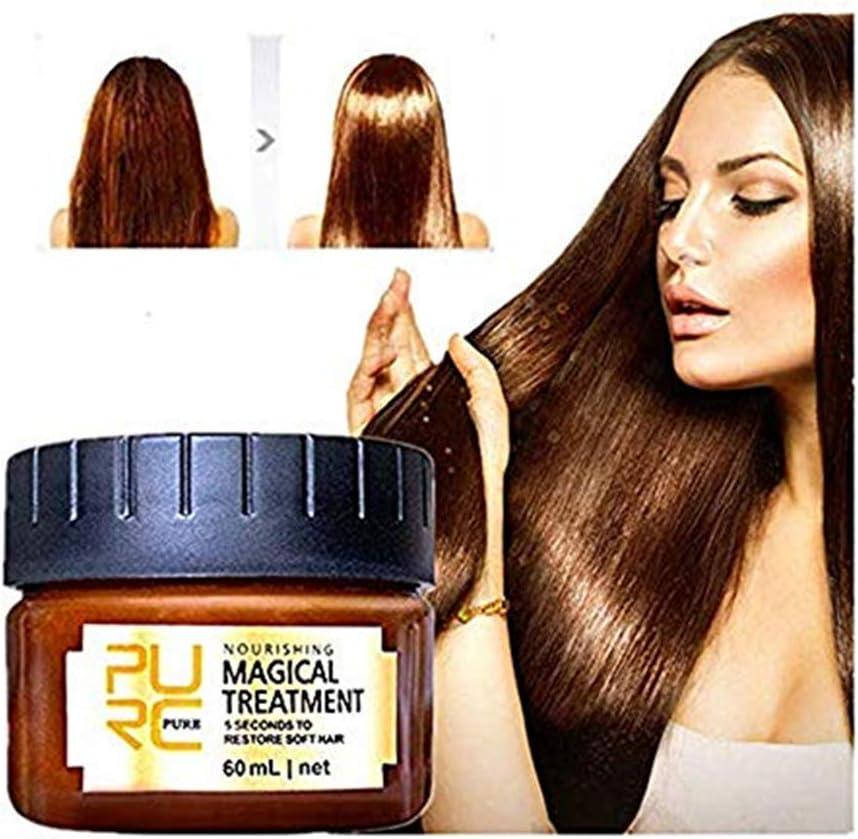 99AMZ Magical Treatment Mask 5 Seconds Repairs Damage Restore Soft Hair 60ml/120ml for All Hair Types Keratin Hair & Scalp Treatment Mascarilla para el Pelo Profesionales para Dañado Cabello (B-60