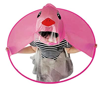 Longay Kids Foldable UFO Cap Hat Raincoat Umbrella Headwear Waterproof Hands Free Raincoat Cover (S