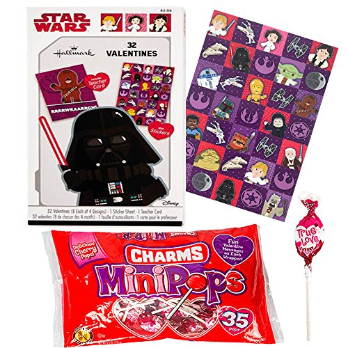 Hallmark Star Wars Classic 32 Valentine Cards With Stickers and Charms Lollipops Classroom Exchange Bundle