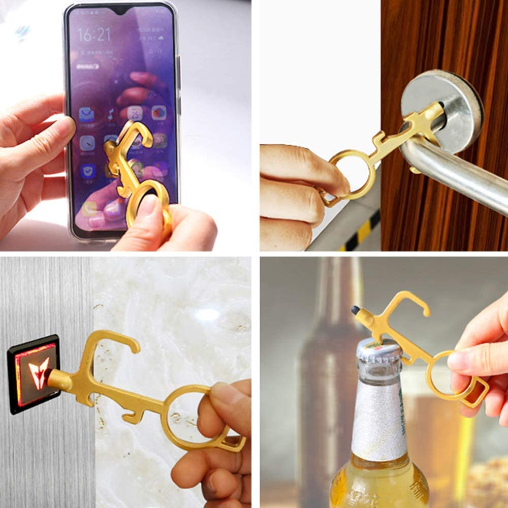 2pcs Hands Free Keys No-Touch Door Opener with Rubber Stylus Tip Non-Contact Keychain Button Pusher Tools for Home Outdoor Anti Touch Door Opener Tool