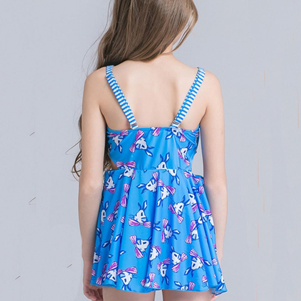 SFNLD InStar Girls Sweet Animal Print Modest Shoulder Strap One Piece Swimsuit With Skirt