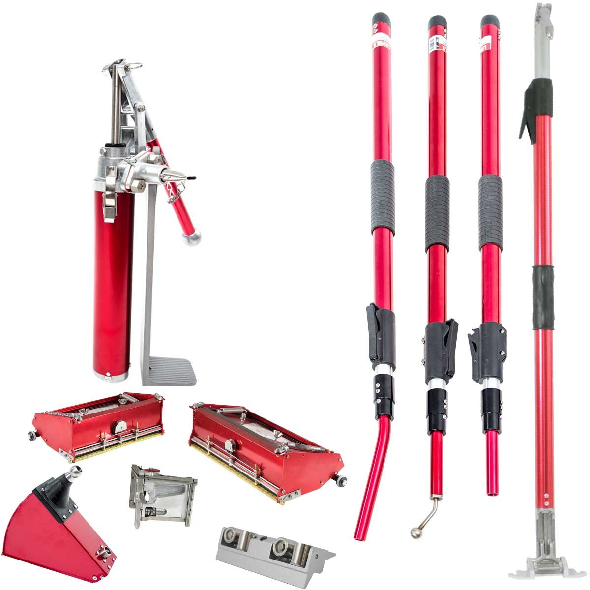 Level5 Extendable Handle Drywall Finishing Set with Flat Boxes, Corner Roller, Angle Box, Angle Head, Pump and Extendable Handles