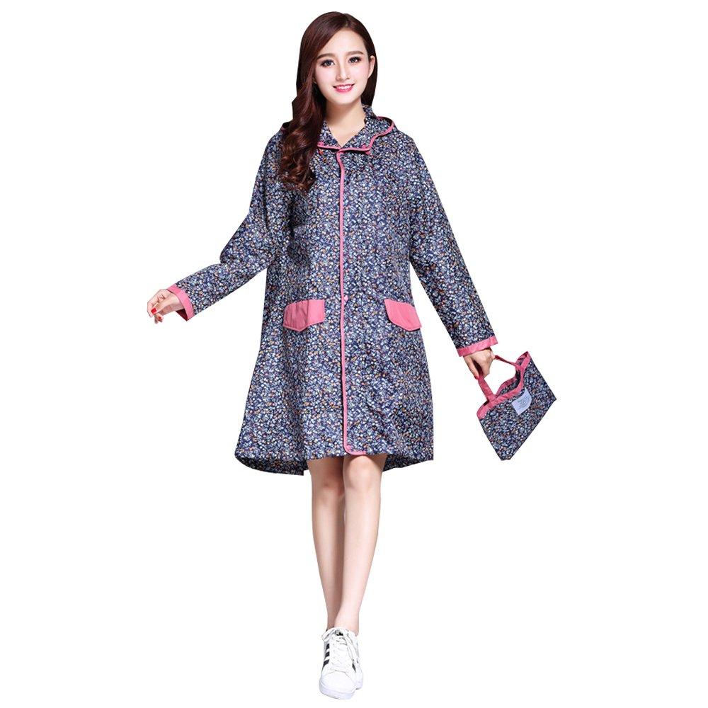 KINDOYO Rainwear - Womens Girls Zipper Type Raincoats with Belt (Style 02)